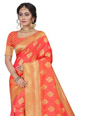 Silk Orange Fancy Traditional Designer Saree