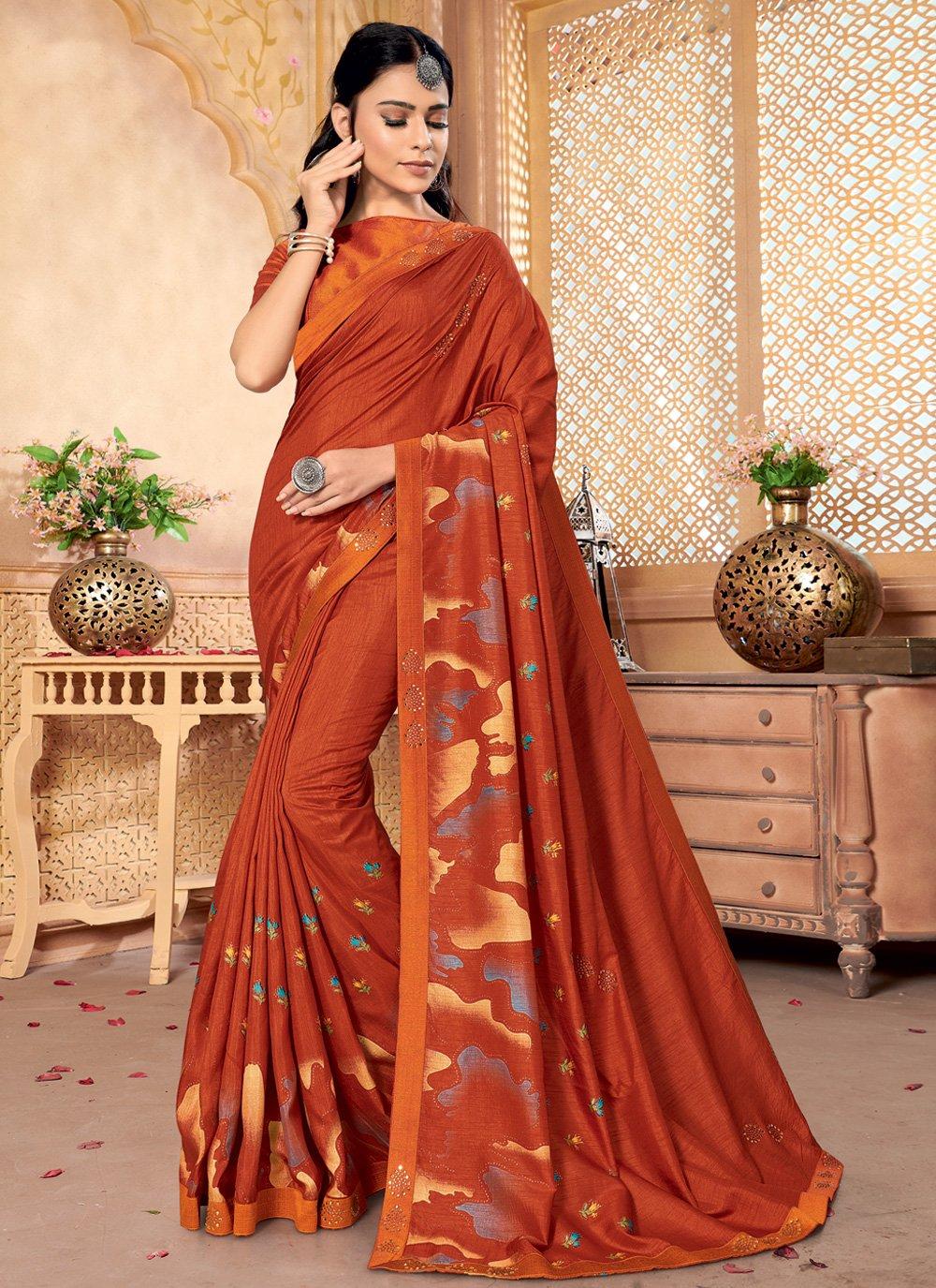 Silk Orange Foil Print Contemporary Saree