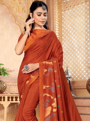Silk Orange Foil Print Contemporary Saree