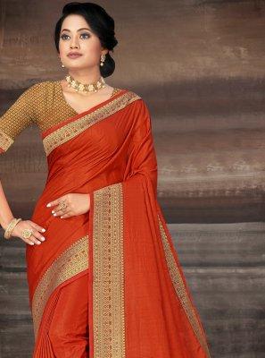 Silk Orange Lace Classic Saree