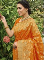 Silk Orange Traditional Saree