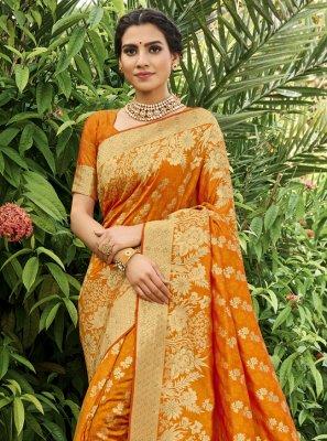 Silk Orange Traditional Saree