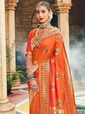 Silk Orange Weaving Traditional Designer Saree