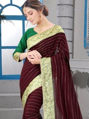 Silk Patch Border Brown Classic Saree