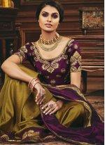 Silk Patch Border Designer Half N Half Saree