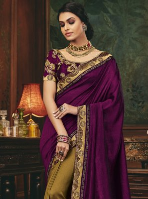 Silk Patch Border Designer Half N Half Saree
