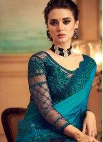 Silk Patch Border Designer Saree in Green