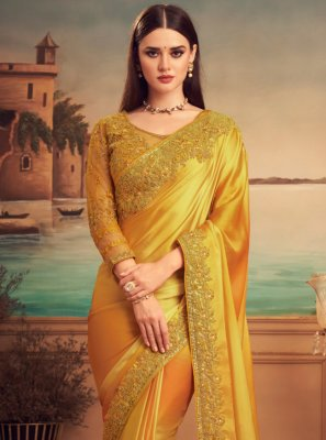 Silk Patch Border Designer Saree in Mustard