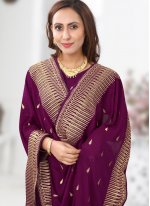 Silk Patch Border Designer Saree in Wine