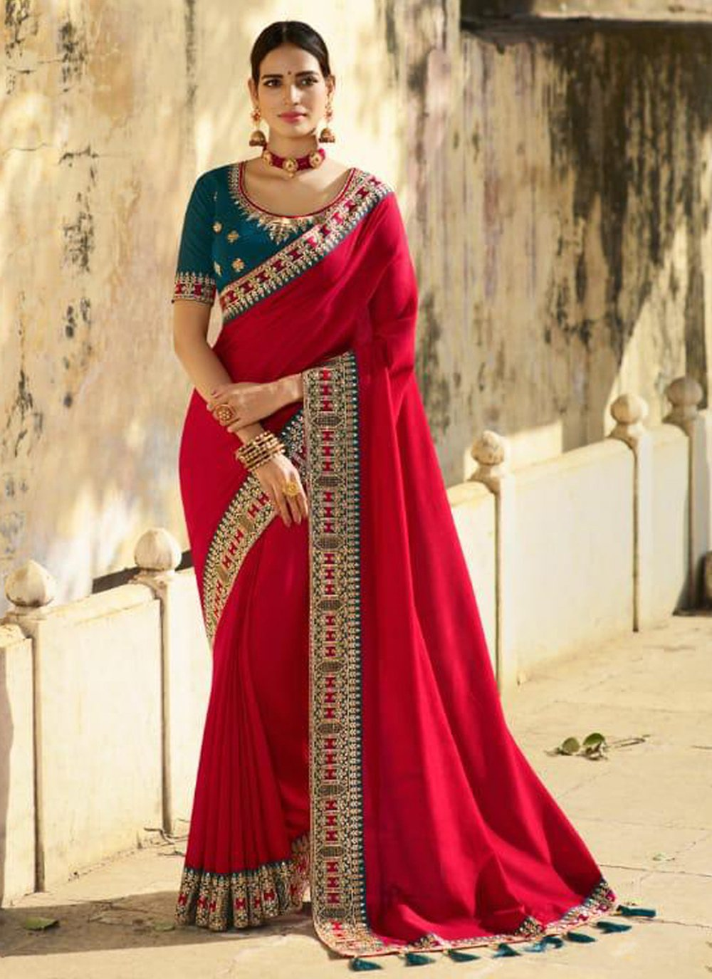 Silk Patch Border Designer Traditional Saree in Red