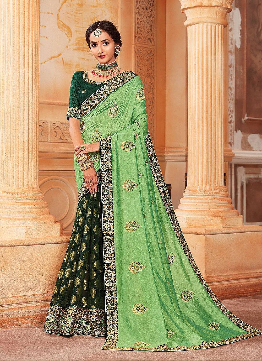 Silk Patch Border Half N Half  Saree in Green