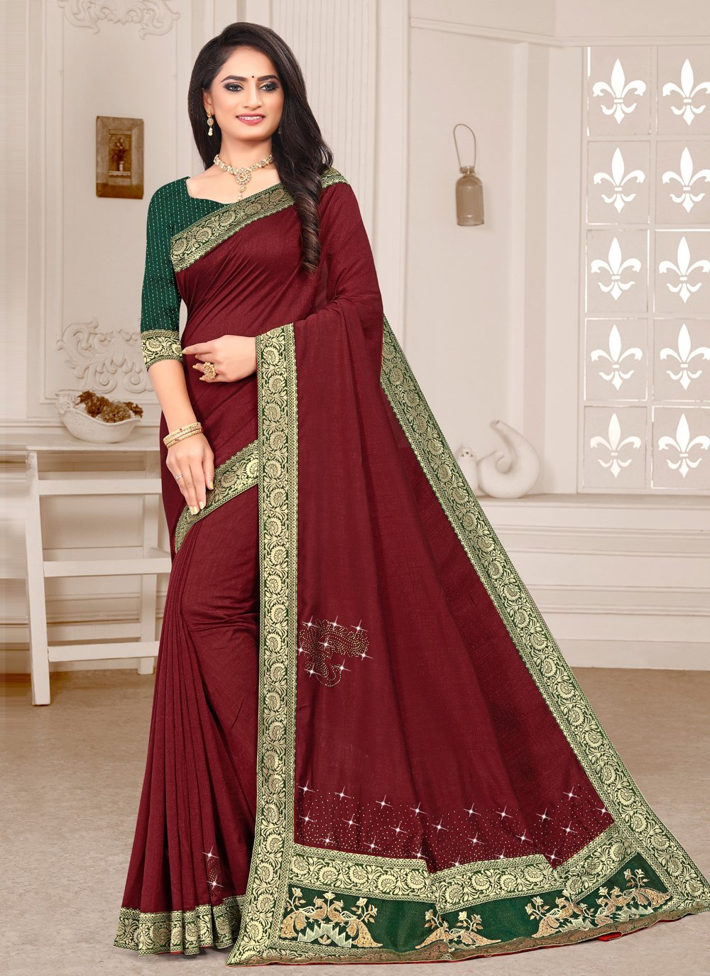 Silk Patch Border Maroon Trendy Saree