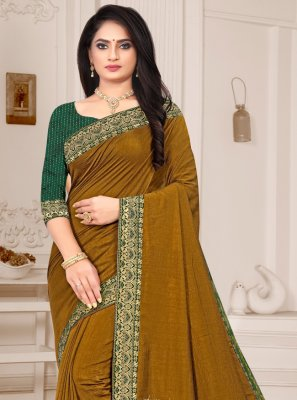 Silk Patch Border Mustard Traditional Saree