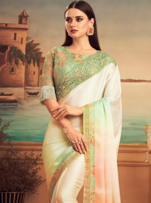 Silk Patch Border Peach Shaded Saree