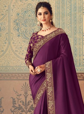 Silk Patch Border Purple Designer Traditional Saree