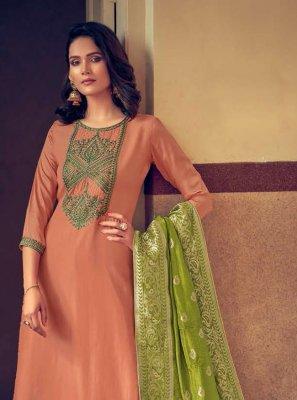 Silk Peach Designer Palazzo Suit