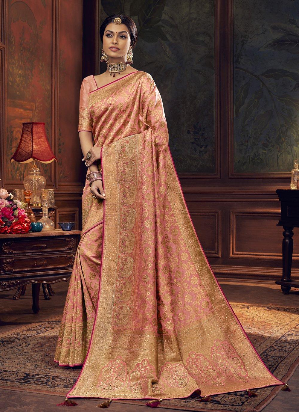 Silk Peach Designer Traditional Saree