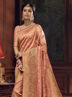 Silk Peach Designer Traditional Saree