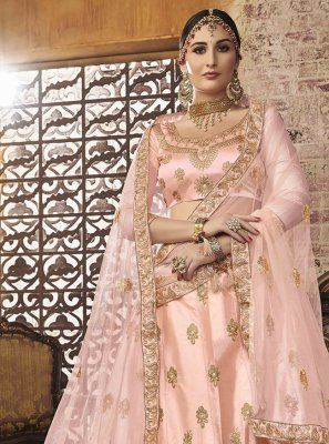 Silk Peach Embroidered Lehenga Choli