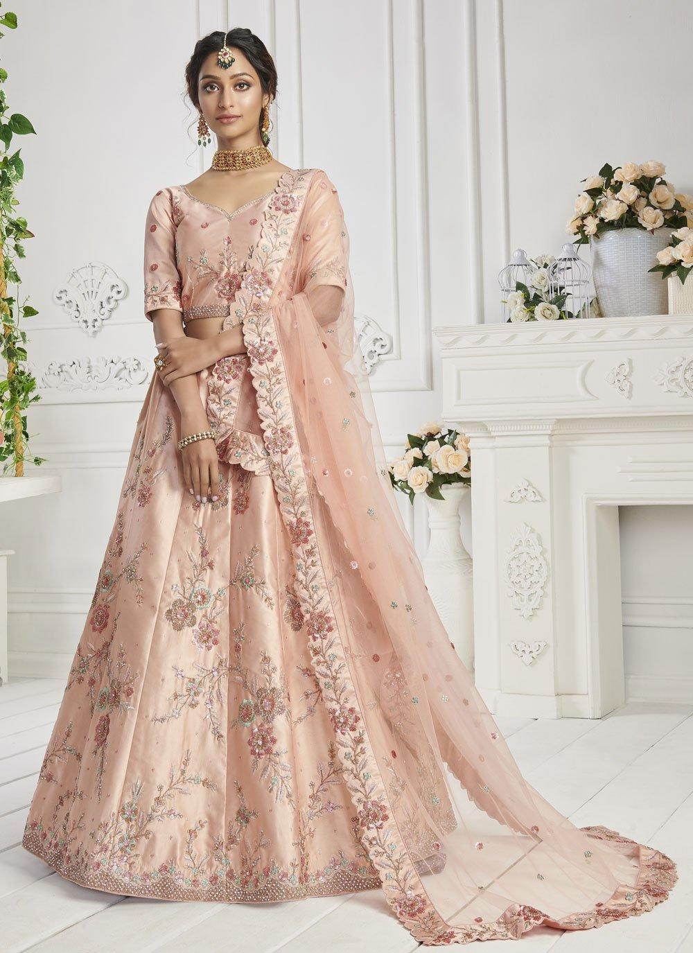 Silk Peach Lehenga Choli