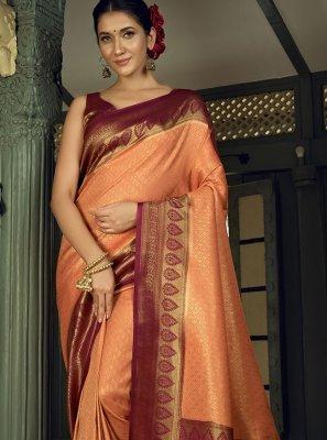 Silk Peach Traditional Designer Saree