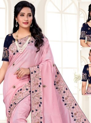 Silk Pink Designer Traditional Saree
