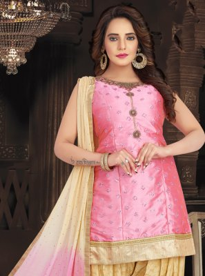 Silk Pink Embroidered Readymade Suit
