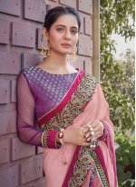 Silk Pink Patch Border Designer Saree