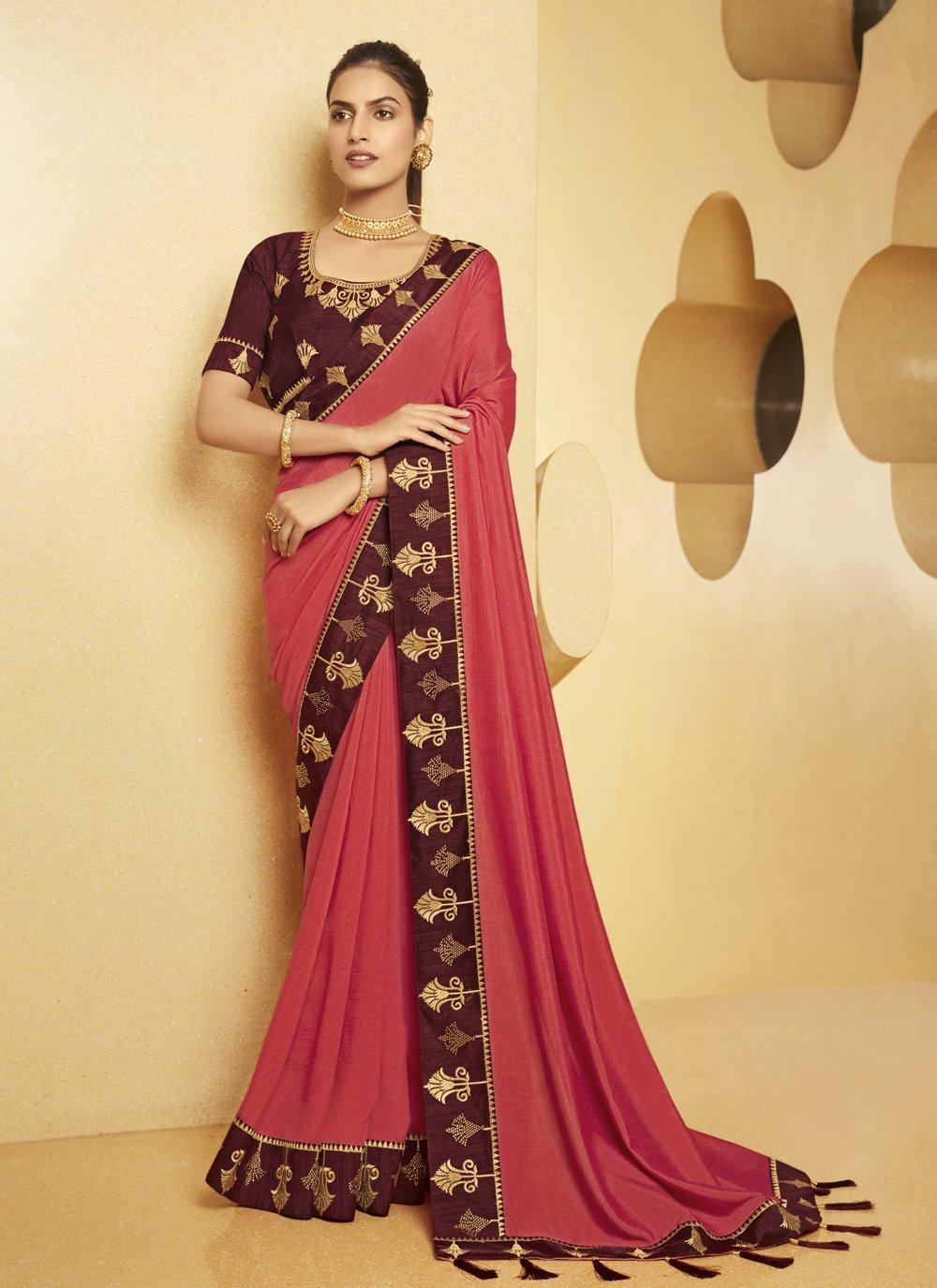 Silk Pink Patch Border Traditional Saree