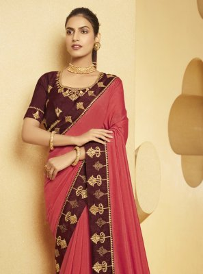 Silk Pink Patch Border Traditional Saree