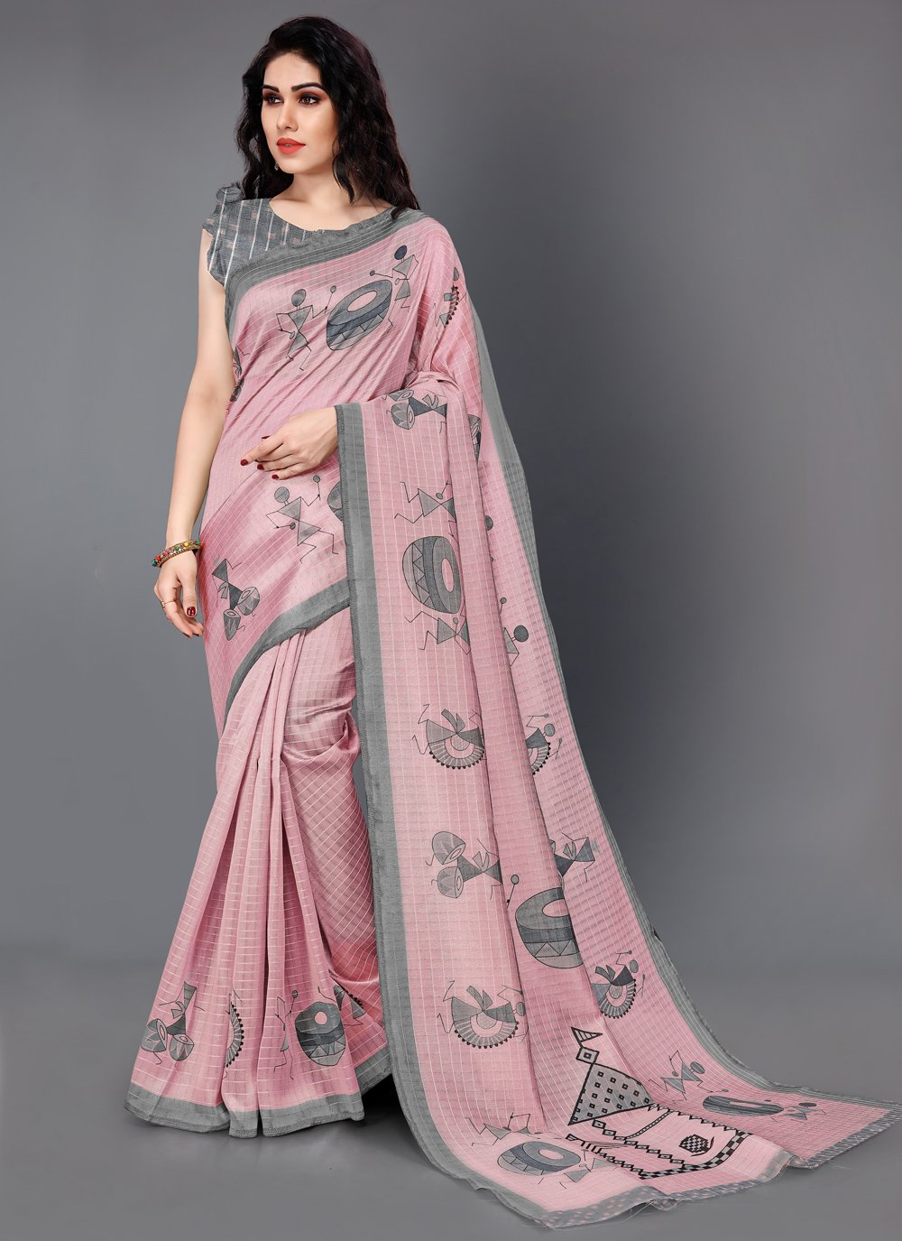 Silk Pink Printed Trendy Saree