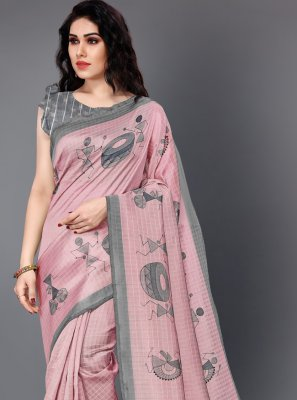Silk Pink Printed Trendy Saree