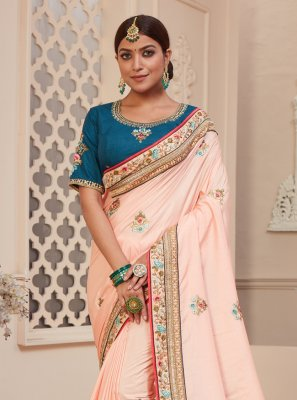 Silk Pink Traditional Designer Saree