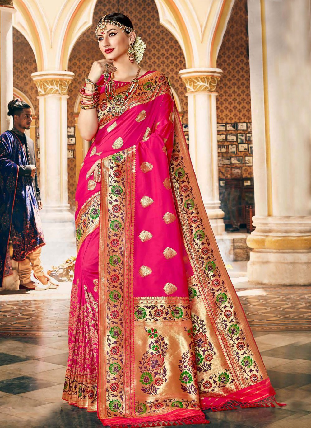Silk Pink Traditional Designer Saree