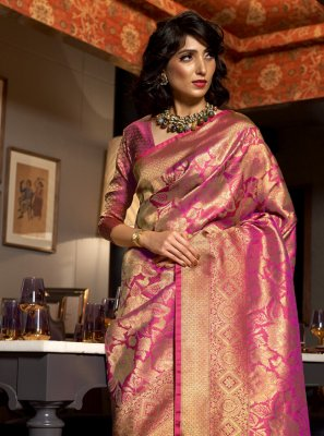 Silk Pink Traditional Saree