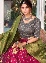 Silk Pink Weaving Designer Lehenga Choli