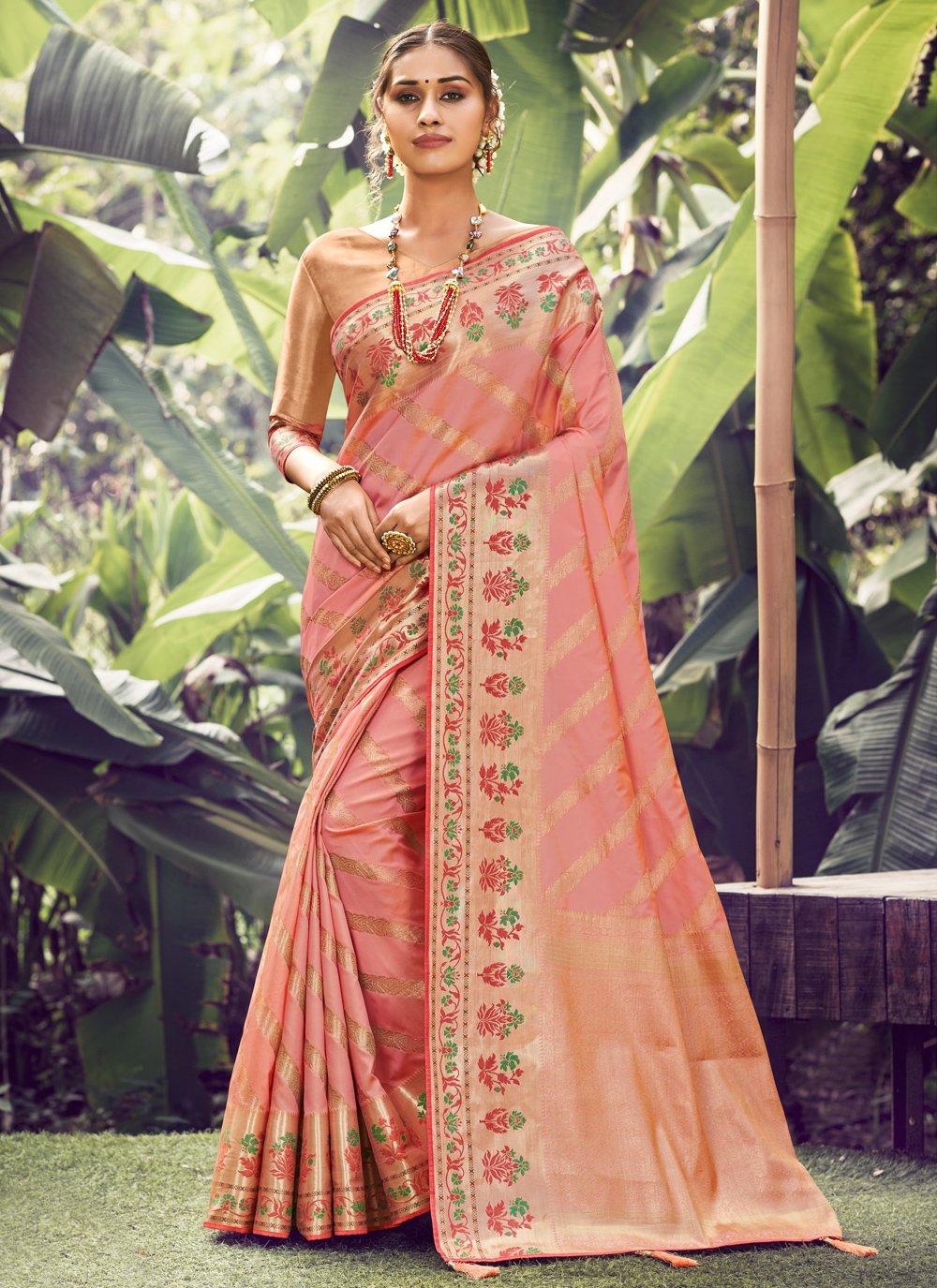 Silk Pink Weaving Designer Traditional Saree