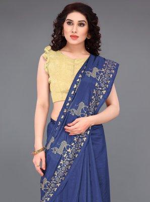 Silk Print Blue Casual Saree