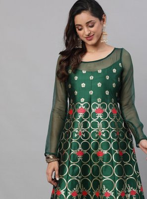 Silk Print Green Readymade Gown