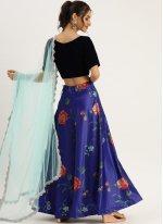 Silk Print Lehenga Choli in Blue