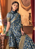 Silk Printed Blue Traditional Designer Saree