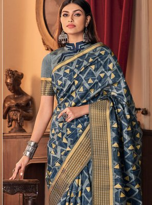 Silk Printed Blue Traditional Designer Saree