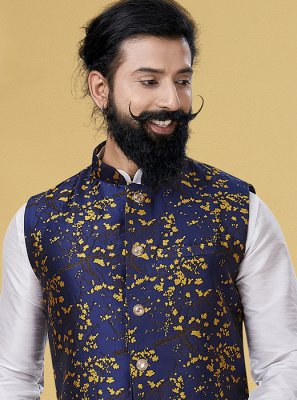 Silk Printed Nehru Jackets in Blue