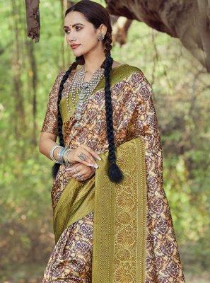Silk Printed Saree in Multi Colour