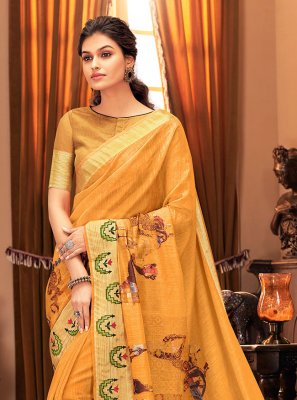 Silk Printed Traditional Saree in Yellow