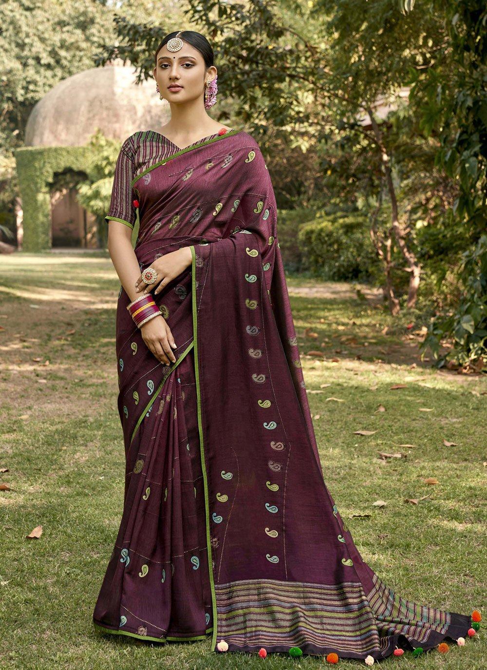Silk Printed Wine Classic Saree