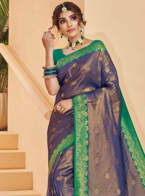 Silk Purple Weaving Designer Saree