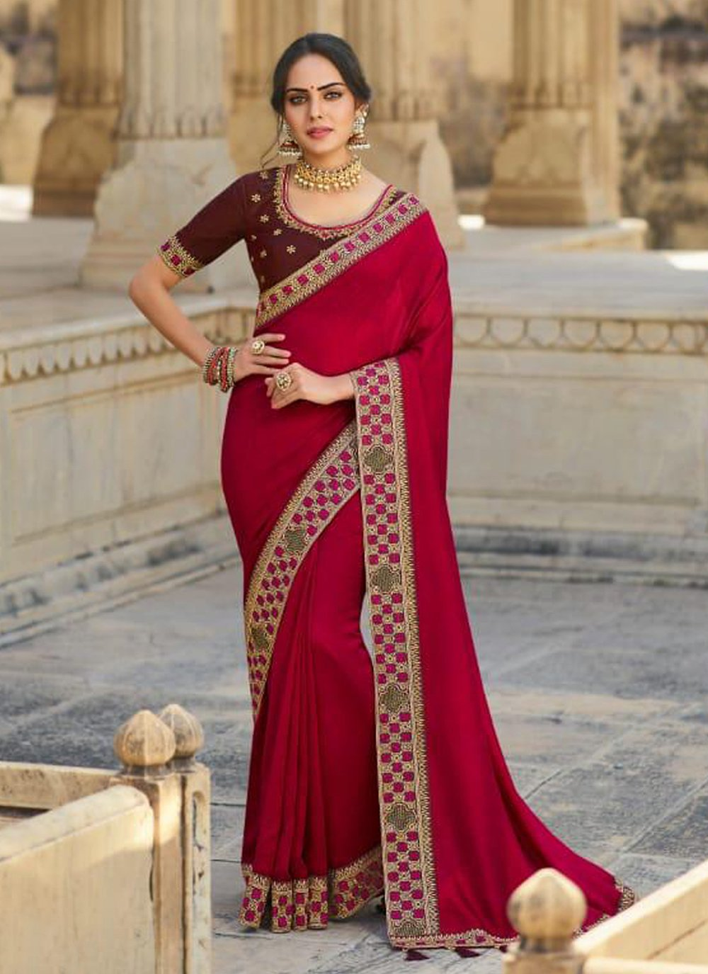 Silk Rani Designer Traditional Saree