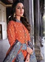 Silk Readymade Anarkali Suit in Orange