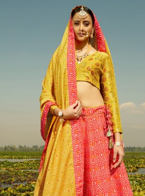 Silk Readymade Lehenga Choli in Red